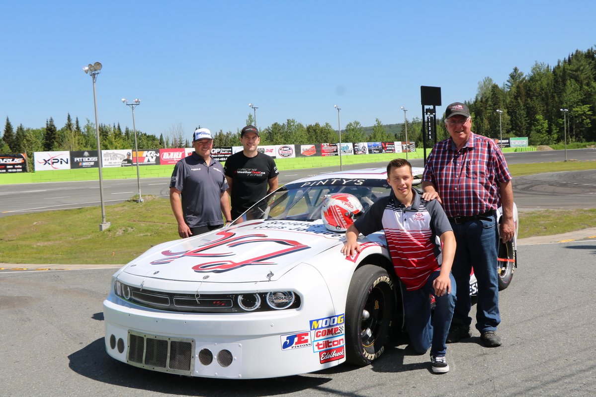 RAPHAEL LESSARD MAKES FRIENDS WITH HIS PINTY'S CAR AT AUTODROME CHAUDIERE
